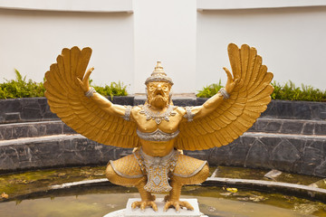Gold Garuda on water
