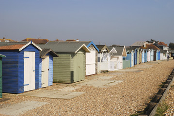 Beach huts at Ferring. West Sussex. England