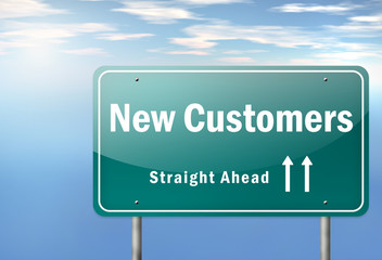 "Highway Signpost ""New Customers"""