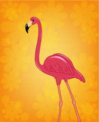 Beautiful pink flamingo on a flower background