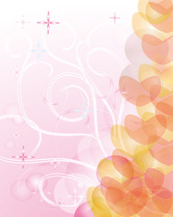 Abstract background with pink hearts.