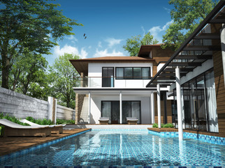 3d render of building tropical house