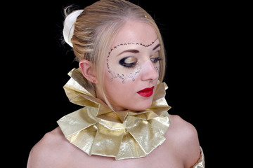 Beautiful woman with golden venetian mask
