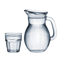 Full glass and jug isolated