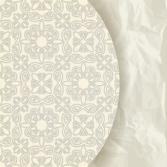 vector floral pattern on crumpled paper texture