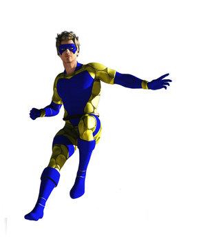 Masked superhero in flight