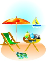 Summer beach holiday, vector