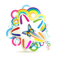 Colorful background with stars and circles rainbow