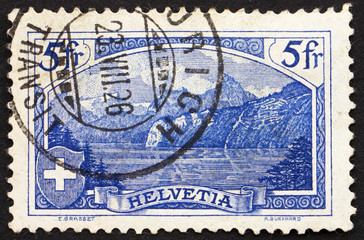 Postage stamp Switzerland 1914 The Rutli Mountain