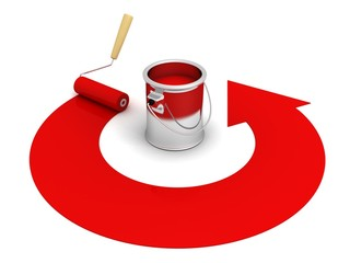 open paint can with roller and red round arrow