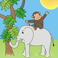 Elefant and monkey