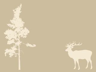deer near pines on brown background