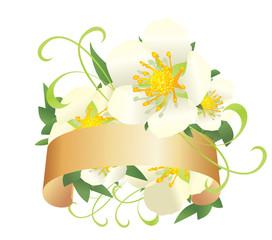 white wild roses bannervector decor illustration