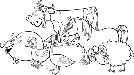 Group of cartoon farm animals for coloring