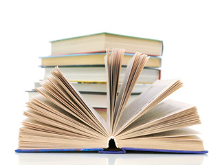 books on white background