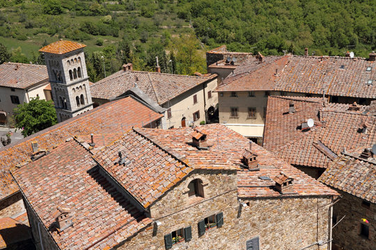 View of Castellina in Chianti village  seen from the Rocca  ( ca