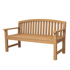 a wooden bench on white