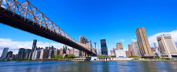 New York skyline panorama and Queensboro Bridge