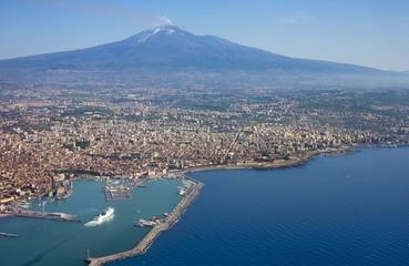 Air photo of Catania city in Sicily Fototapete