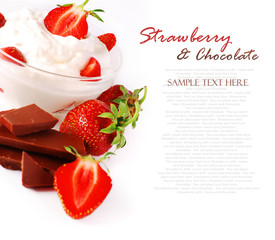 Strawberry with cream and chocolate