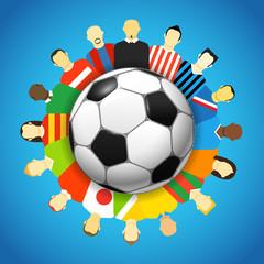 National teams football players around the soccer ball
