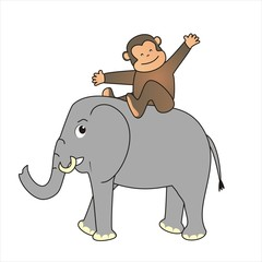 elephant and monkey
