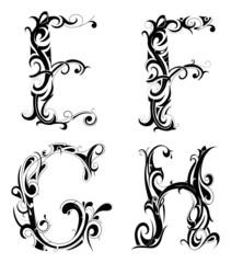 Set of decorative letter shape isolated on white