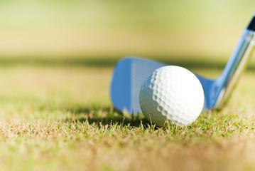 golf ball and golf club behind