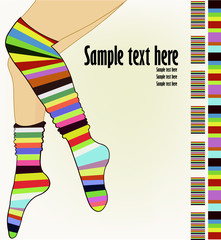 Photo sur Plexiglas Hibou Beautiful female legs in striped socks
