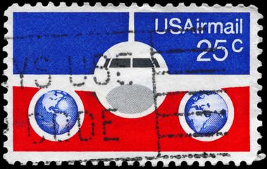 USA - CIRCA 1976 Plane and Globes
