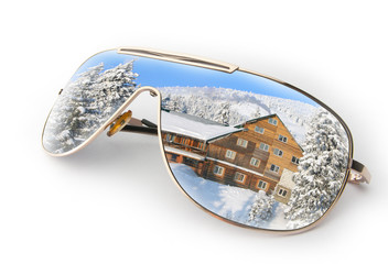 Winter landscape in sunglasses