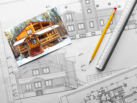 Architectural project of wooden mansion