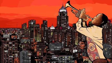 Photo sur Aluminium Art Studio Trumpet player