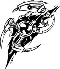 Tattoo design in biomechanical style. Vinyl-ready illustration.