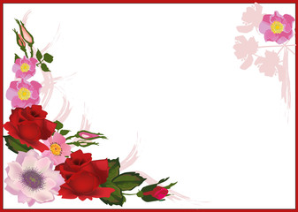 rose and brier flowers in red frame
