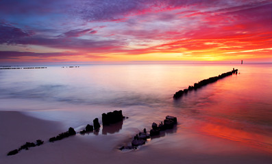 Wall Mural - Baltic sea at beautiful sunrise in Poland beach.