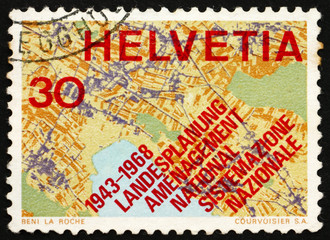 Postage stamp Switzerland 1968 Map Showing Systematic Planning