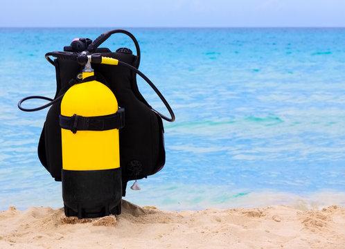 Scuba diving equipment on a cuban beach
