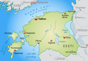 Map of Estonia with neighboring countries in green