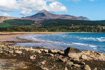 Goat Fell and Brodick Bay on the Isle of Arran, Scotland