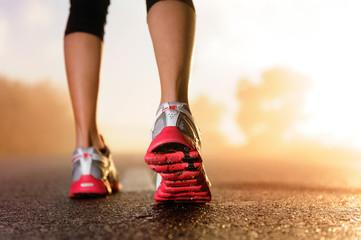 Aluminium Prints Jogging Runner feet sunrise