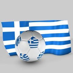 balón de fútbol y bandera de grecia