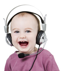 young child with headset