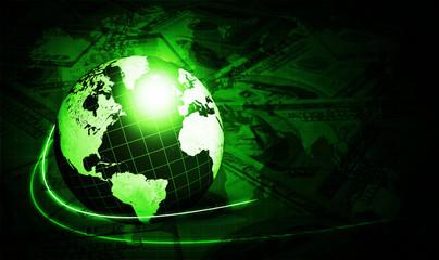 shining green globe with dollars