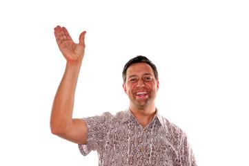Young man waving
