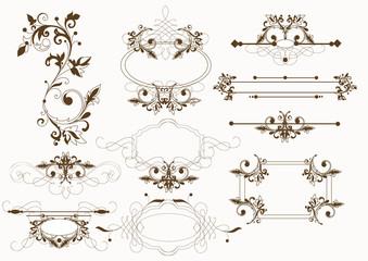 Calligraphic vintage vector elements