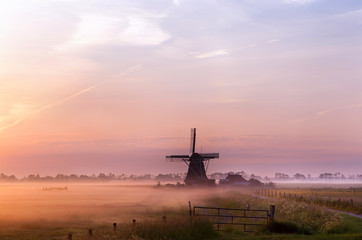 Wall Mural - Dutch windmill in fog in the early morning