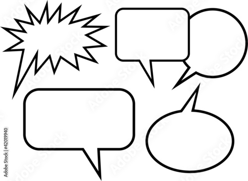 Simple cartoon blank word balloons stock photo and for Photo booth speech bubble template