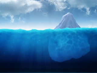 large iceberg floating in water