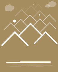 range of mountains with clouds vector format background eps10
